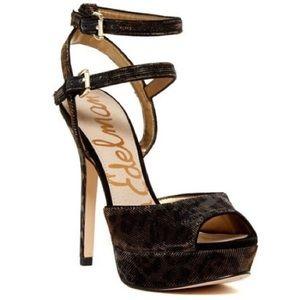 SAM EDELMAN Nadine Bronze Shimmer Leopard Sandals